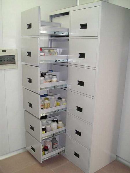 全钢拉篮式药品柜